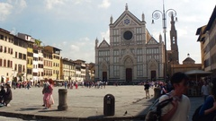 FLORENCE, ITALY - SEPT 18, 2016: Tourists on scenic Piazza of Santa Croce in Stock Footage