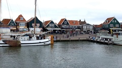 Overview of the small port of Pescaori of Volendam in Netherlands Stock Footage