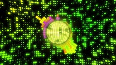 Synchronized Funky Disco Ball Motion Background 4K and Full HD Changing Colors Stock Footage