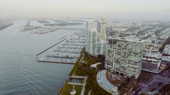 Miami Beach Aerial View of Government Cut Waterway Harbor and Island Keys Stock Footage