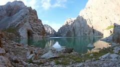 Mountain lake landscape in the Kirgistan, KelSu Stock Footage