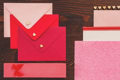 Valentines red stationery Stock Photos