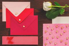 Valentines letters and rose Stock Photos