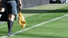 Soccer Linesman in slow motion Stock Footage
