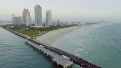 Flying Away From South Beach Miami Skyline Morning Fog Stock Footage