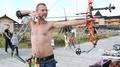 Archer shoots a bow HD Footage