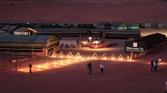 People in Hillawi camp - Rose sand camp in Wadi Rum desert, Jordan Stock Footage
