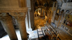 Stone of the Unction in the interior of the Church of the Holy Sepulchre in the  Stock Footage