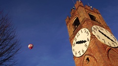 Balloon and ancient tower Stock Footage