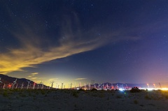 5K Astro Timelapse of Stars over Windmills in Palm Springs Wide Angle Stock Footage