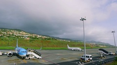 Airport Funchal of the Portuguese island of Madeira Stock Footage