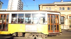 Vintage yellow tram Stock Footage