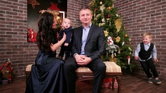 Happy family, family with cute baby on hands, eldest child plays with dad Stock Footage