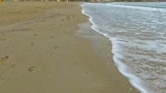 Aerial shot over beach shore Stock Footage