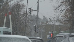 Winter snow storm, street lights and trees shaking from wind, natural disaster Stock Footage