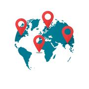 World map destination pins, concept of global gps transportation logistic Stock Illustration