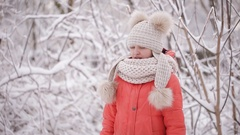 Blind girl crying in the winter forest. The girl lost her sight Stock Footage