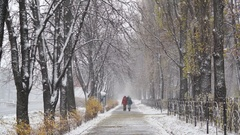Two women walking on sidewalk on a snowy winter day, first snowfall, weather Stock Footage