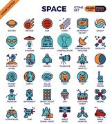 Space and galaxy icons Stock Illustration