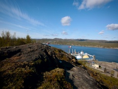 Panoramic View From the Hilly Area on the Navigable River in Murmansk. Sunny Stock Footage