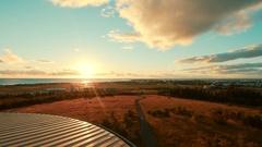 Reykjavik, Iceland skyline sunset aerial Perlan Dome. Beautiful city, tourism Stock Footage