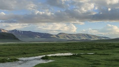 Clouds over the valley of the Tolbo, Mongolia. Full HD Stock Footage