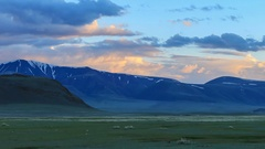Sunset over the valley of the Tolbo, Mongolia. Full HD Stock Footage
