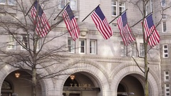 Entrance to the Trump International Hotel in Washington DC Stock Footage