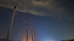 Astro Timelapse Low Angle Shot of Windmills in Palm Springs -Long Crop- Stock Footage