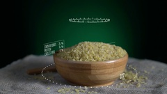 Infographic of Bulgur with vitamins, microelements minerals. Energy Stock Footage