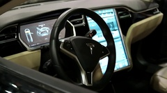 Tesla electromobile interior Stock Footage