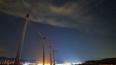 Astro Timelapse Low Angle Shot of Windmills in Palm Springs -Pan Left- Stock Footage
