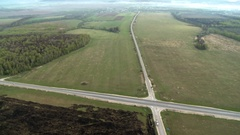 Nature landscape with crossroad aerial video Stock Footage