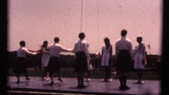 Vintage 8mm Scottish Games, traditional couples dancing Stock Footage