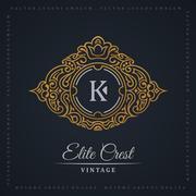 Vintage gold logo set. Flourishes crest calligraphic ornament Stock Illustration