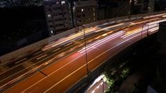 Night Traffic Long Exposure Video (light trails) Shuto Expressway Tokyo 06 Stock Footage