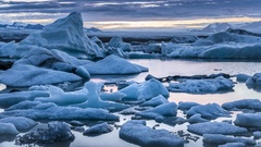 Glacier Lagoon in the early morning Stock Footage