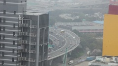 Traffic flow on a large expressway Stock Footage