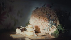 Wedding background. bride flawor and wedding gift on table Stock Footage