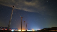 Astro Timelapse Low Angle Shot of Windmills in Palm Springs -Tilt Up- Stock Footage