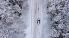 Two cars driving in white snowy evergreen forest on slippery asphalt road Stock Footage