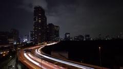 Night Traffic Long Exposure Video (light trails) Shuto Expressway Tokyo 07 Stock Footage