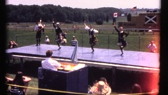 Vintage 8mm Scottish Games, women in dancing competition Stock Footage