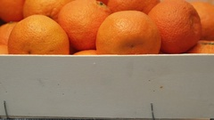Clementines in Wooden Box Stock Footage