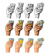 Male hand holding glasses drinks Stock Illustration