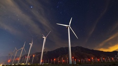 Astro Timelapse of Array of Windmills in Palm Springs -Long Crop- Stock Footage