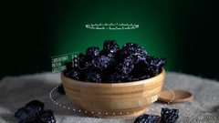 Infographic of Prune with vitamins, microelements minerals. Energy Stock Footage