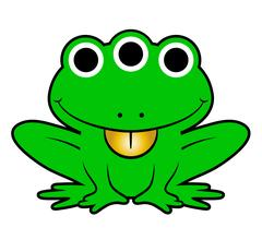 Cute green cartoon alien frog Stock Illustration