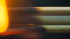 Burning wooden toothpicks, sticks Stock Footage
