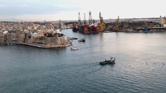 Valletta Port and Castle View Stock Footage